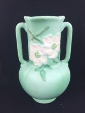 Vase Weller Pottery Green & White Wild Rose Flowers Double Handle As Is