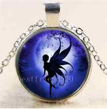 Indigo Fairy Photo Cabochon Glass Tibet Silver Chain Pendant Necklace#990