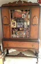 Antique China curio cabinet Showers Furn.Co.1868 medallion hutch wood orig.glass