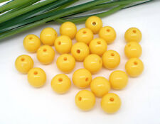 50 x 12mm BRIGHT YELLOW ROUND  ACRYLIC BEADS - UK SELLER - SAME DAY POST