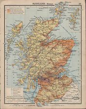 1939 MAP ~ SCOTLAND ~ SHIPPING ROUTES METAL INDUSTRIES COAL MINING PORTS RAILWAY