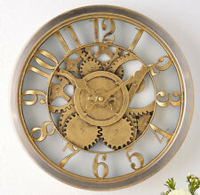 Hometime Gold Coloured Vintage Wall Clock Gears Cogs Antique Open Workings Retro