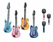 3 INFLATABLE GUITARS + 3 INFLATABLE MICROPHONES Party Favor Rock Free Shipping