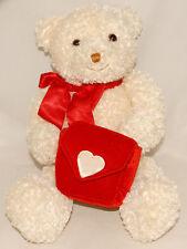 GUND / Zales VALENTINE BEAR - Red Satin Bow - Velvet Heart Gift Pouch 42647