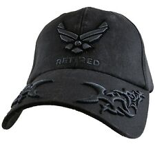 Military US Air Force Retired Hat Tribal EGGS Mens Ball Cap New Black Wash New