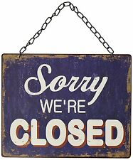 Blue Open Closed Door Sign Vintage Style Metal Chain Home Decor Business Office