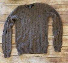 Ralph Lauren Sport Crewneck Cotton Cable Knit Sweater Sz M Purple Pony Gray