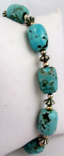"Chalk Turquoise Chunky Barrel Beaded Magnetic 7.5"" Bracelet"