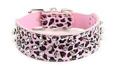 Spiked Studded PU Leather Dog Collar PitBull Terrier BLACK PURPLE GOLD S M L XL