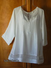 NEW Solitaire Plus 3X Romantic Vintage Fresh Ivory Long Blouse Casual Top NWT