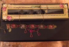 Signed MICHAL NEGRIN Antique Victorian Style Crystal Necklace & Bracelet Set