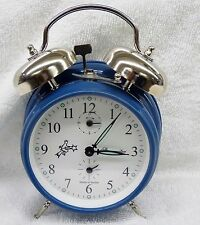 ALARM CLOCK-  AZURE BLUE -DOUBLE BELL -MECHANICAL -MADE IN SERBIA