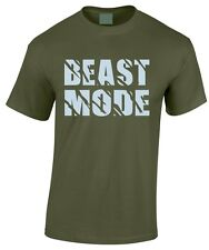BEAST MODE Work Out Gym T-Shirt Muscle Equipment Cotton Weightlifting Fight