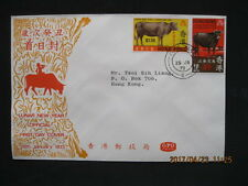 """(4-scan)...1973 """" Year of  the OX"""" Hong Kong FDC Cover to Mr. Tsoi of HK"""