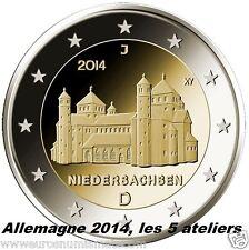 5 x 2 euros commémoratives  ALLEMAGNE 2014   Niedersachen -  Les 5 ateliers