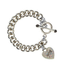 JUICY COUTURE Icon Pave Heart Charm Silver-Tone Starter Toggle Bracelet