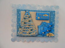 PK 2 BLUE CHRISTMAS TREE EMBELLISHMENT TOPPERS GREAT FOR  CARDS & CRAFTS