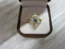 GORGEOUS ESTATE 14 KT GOLD 1.50 CTW VIVID BLUE DIAMOND RING !!!!!!!!!!!!