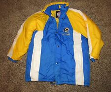 Vintage Retro NFL GAME DAY St. Louis Rams Yellow & Blue JACKET Coat Size Large