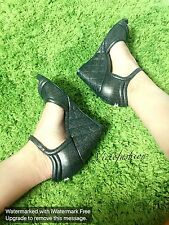 NIB Chanel Black Gold Metallic Quilted Sandals Size 37