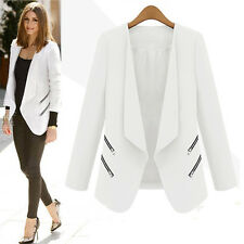 Womens Slim Blazer Suit Zip Jacket Cardigan Workout Office Business Work Coat
