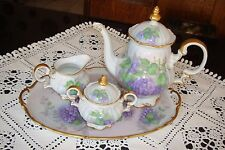 GERMANY SYLVIA HAND PAINTED COFFEE / TEA SET, POT SUGAR CREAMER TRAY, WISTERIA