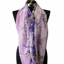 Sheer Spring Watercolor Lilac Purple Yellow Floral Viscose Infinity Scarf Wrap