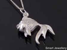 925 Sterling Silver Goldfish Fish Pendant necklace Jewellery