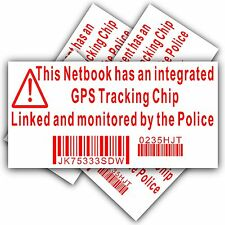 NETBOOK COMPUTER SECURITY sticker-fake polizia GPS Tracking sign-dell, HP, MAC, bloccare