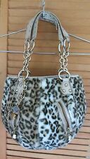 KATHY VAN ZEELAND LEOPARD INSPIRED FUR BAG PURSE EUC