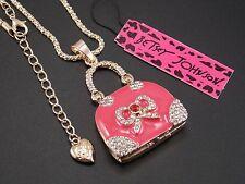 Betsey Johnson!Cute inlaid crystal pink handbag pendant necklace # A315