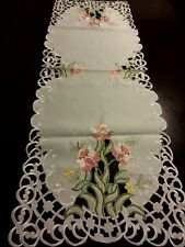 """16""""x45""""Embroidered Tablecloth Pink Spring Tulip Floral Table Runner Home Decor"""