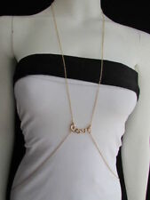 New Women Gold Body Chain Jewelry LOVE Pendant Charm Beach Pool Party Summer Fun