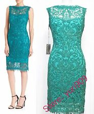 Tadashi Shoji Aqua Embroidered Lace Sleeveless Cocktail Dress Size 12 $408