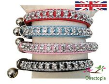 Leather Cat Collar - with Crystal Diamante Rhinestone Safety Elastic & Bell