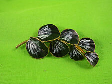 Vintage c.1940's Gold Tone Hand Painted Shell Shaped Leaves Black White Brooch