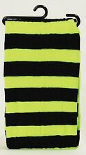 New Striped Stripey Neon Nylon Tights Fancy Dress Womens Witch Costume - Various