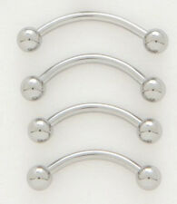 """10 Steel 16g 5/16"""" Eyebrow Rings 3MM Ball Wholesale Lot Curved Barbell Piercing"""