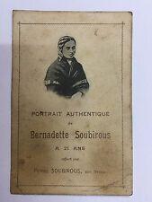 Rare image pieuse Portrait  Bernadette Soubirous offert par son Neveu Pierre