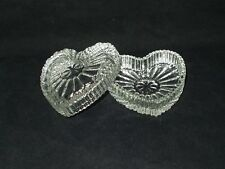 Trinket Box Heart Small Clear Ribbed Glass 2pc