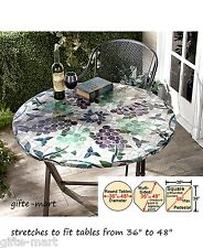 """mosaic tile wine grape Elastic fitted indoor outdoor 48"""" round patio table cover"""