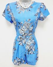 BNWT Asos Blue Floral China Print Evening Occasion Day Playsuit Romper Size 8