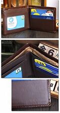Men Bifold Business Leather Wallet  ID Credit Card Holder Purse Pockets Brown