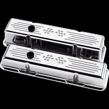 small block chevy cross flag style valve covers aluminum ball milled corvette