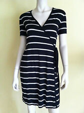 NWT CALVIN KLEIN Jersey Wrap Dress Short Sleeve V-Neck Striped Black Tan 4