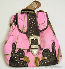 Womens Realtree Pink Camo Fashion Backpack Western Style Purse Bookbag New