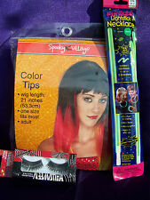 "COLOR TIPS COSTUME WIG▪ADULT▪BRIGHT RED / BLACK / Yellow ▪21"" Eye Lashes & Light"