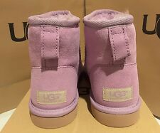 New in box UGGS lilac suede Classic mini SHEEPSKIN BOOTS, US size 7 women's