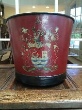 ANTIQUE VINTAGE RED TOLE PAINTED SAND HOD FIRE BUCKET ROYAL CREST FIREPLACE OLD