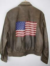 WILSON LEATHER A-2 Bomber Flight Jacket Brown American Flag Print Men's size XL